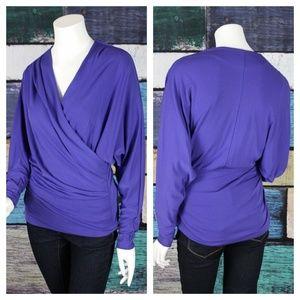 Nicole Miller Artelier Purple Faux Wrap Draped Top